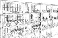 Architekturskizzenzeichnungs-Gebäudemodell Stockfotografie