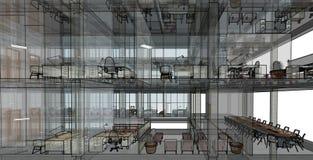 Architekturskizzenzeichnungs-Gebäudemodell Lizenzfreie Stockfotografie