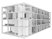 Architekturskizzenzeichnungs-Gebäudemodell Stockfotos