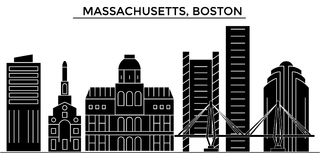 Architekturvektor-Stadtskyline USA, Massachusetts, Boston, Reisestadtbild mit Marksteinen, Gebäude, lokalisierter Anblick Stockbild
