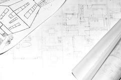 architektury rysunku domu od plany staczający się Fotografia Stock
