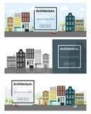 Architektury tła pejzażu miejskiego sztandar Zdjęcie Royalty Free