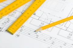 Architekturzeichnung und Bleistift Stockfoto