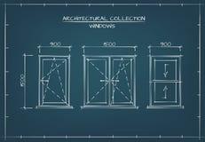Architekturzeichnung von Windows Stockfotos