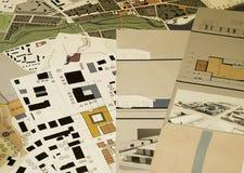 Architekturzeichnungen, Lichtpausen Stockbild