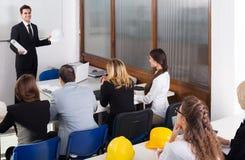 Architetti che avanzano i corsi di formazione in aula Immagine Stock