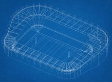 Architetto Blueprint dello stadio di football americano illustrazione vettoriale