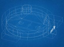 Architetto Blueprint dello stadio di football americano illustrazione di stock