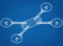 Architetto Blueprint di concetto del fuco fotografia stock
