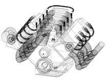 Architetto Blueprint di concetto del motore di automobile - isolato Fotografia Stock Libera da Diritti