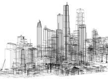 Architetto Blueprint di concetto della città - isolato illustrazione vettoriale