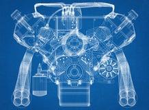 Architetto Blueprint di progettazione del motore di automobile Fotografie Stock