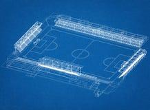 Architetto Blueprint di progettazione dello stadio di calcio fotografie stock