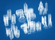 Architetto Blueprint di progettazione di massima della città Fotografia Stock Libera da Diritti