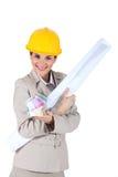 Architetto che abbraccia le cianografie Fotografia Stock