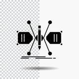 Architetto, costruente, griglia, schizzo, icona di glifo della struttura su fondo trasparente Icona nera royalty illustrazione gratis