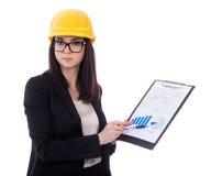 Architetto della donna di affari in lavagna per appunti gialla della tenuta del casco con immagine stock