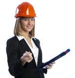 Architetto di Fwoman con la penna e la cartella Fotografia Stock