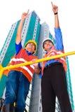 Architetto e supervisore asiatici sul cantiere Fotografia Stock
