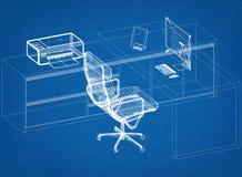 Architetto moderno Blueprint di concetto dell'ufficio Immagine Stock