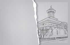 Architettura abbozzo Disegno della chiesa Fotografia Stock Libera da Diritti
