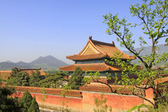 Architettura antica cinese nelle tombe reali orientali della Q Fotografie Stock