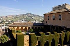 Architettura antica nel palazzo di Alhambra in Spagna Fotografie Stock Libere da Diritti