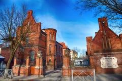 Architettura antica nello stile tedesco Ultima città tedesca Cranz di Zelenogradsk Fotografia Stock