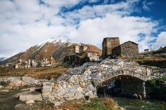 Architettura antica in Ushguli, Svaneti, Georgia Fotografia Stock Libera da Diritti