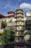 Architettura cinese buddista del tempio di Kek Lok Si, situata in aria Itam a Penang, la Malesia fotografie stock libere da diritti