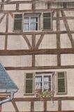 Architettura con la pittura di illusione ottica sulla parete Immagini Stock Libere da Diritti