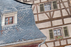 Architettura con la pittura di illusione ottica sulla parete Immagine Stock Libera da Diritti
