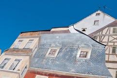 Architettura con la pittura di illusione ottica sulla parete Fotografia Stock