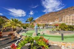Architettura del aquapark e degli hotel di Lago Taurito su Gran Canaria Immagine Stock