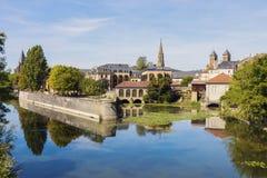Architettura del fiume di Mosella e di Metz fotografia stock libera da diritti