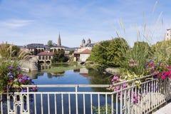 Architettura del fiume di Mosella e di Metz fotografia stock