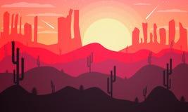 Architettura del pæsaggio del deserto con i cactus Fotografie Stock Libere da Diritti