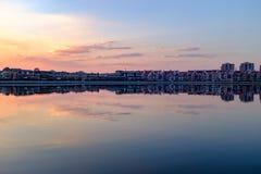 Architettura del paesaggio cinese a Tientsin sotto il tramonto Fotografia Stock