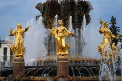 Architettura del parco della città di VDNKh a Mosca Amicizia della fontana della gente Immagini Stock Libere da Diritti