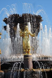 Architettura del parco di VDNKH a Mosca Fontana di amicizia della gente Fotografie Stock