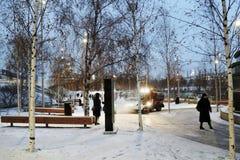 Architettura del parco di Zaryadye a Mosca Punto di riferimento popolare immagine stock libera da diritti