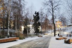 Architettura del parco di Zaryadye a Mosca Punto di riferimento popolare fotografie stock libere da diritti