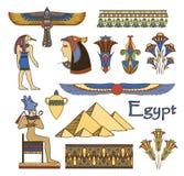 Architettura dell'Egitto ed insieme di colore degli ornamenti Fotografie Stock Libere da Diritti