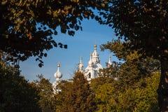 Architettura della cattedrale di Smolny, san Immagine Stock