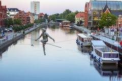 Architettura della città di Bydgoszcz al fiume di Brda in Polonia Immagine Stock Libera da Diritti