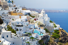 Architettura della città di Fira in Grecia Fotografie Stock