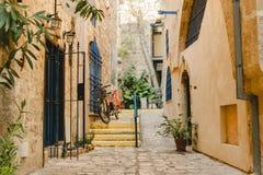 Architettura della via in vecchia Giaffa nell'Israele Immagine Stock Libera da Diritti