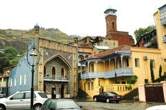 Architettura di Città Vecchia di Tbilisi nell'area di Abanotubani, Geo Fotografia Stock