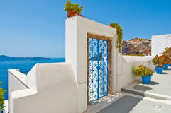 Architettura di Fira sull'isola di Thira (Santorini) La Grecia Immagine Stock Libera da Diritti