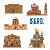 Architettura di Israele e costruzioni famose illustrazione vettoriale